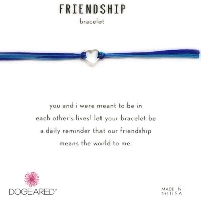 Dogeared Friendship 銀色愛心手鍊 迷你墜 亮藍X寶藍 防水繩衝浪手鍊