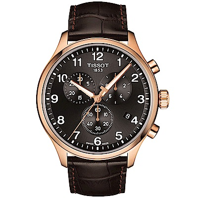 TISSOT天梭 韻馳系列CHRONO XL 大徑面計時腕錶-灰x玫瑰金/45mm
