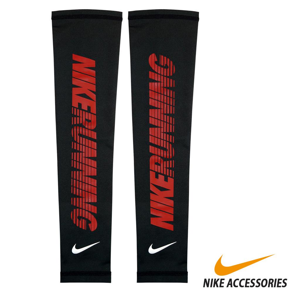 NIKE  Dri-FIT 跑步臂套 (黑/紅) (XL)