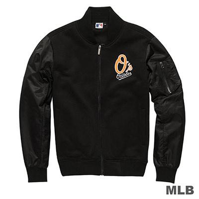 MLB-巴爾的摩金鶯隊休閒合身造型口袋棒球外套-黑(男)