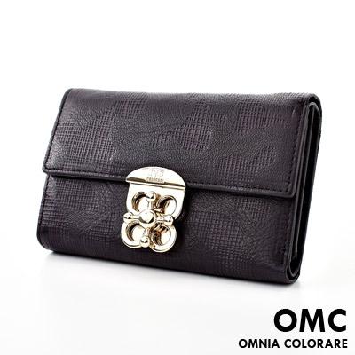 OMC - 韓國原廠時尚編織格紋實用牛皮中夾(地圖款)-共2色