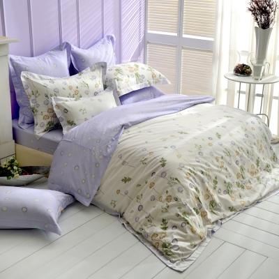 微風飄逸-紫-精梳棉-加大四件式薄被套床包組