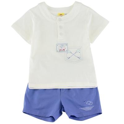 愛的世界 MYBABY 賽艇純棉圓領短袖套裝/1~3歲