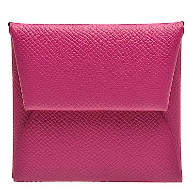 HERMES 經典Bastia系列EPSOM牛皮方型暗釦零錢包(紫紅)