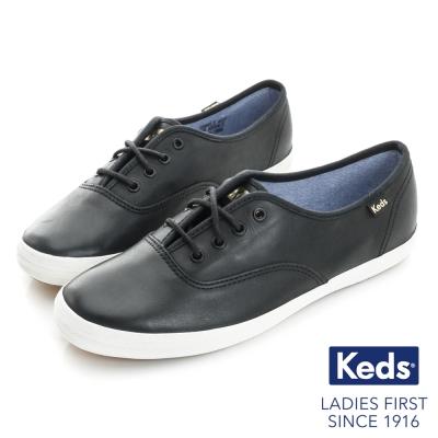 Keds CHAMPION 復古皮質綁帶休閒鞋-黑