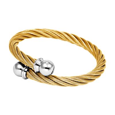 CHARRIOL 夏利豪 經典徹爾斯鋼索金色手環