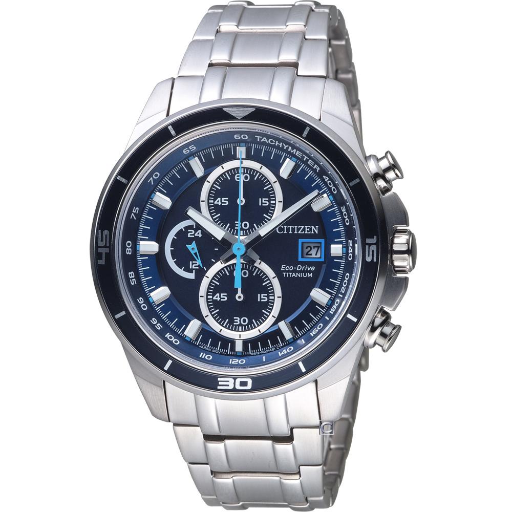 CITIZEN 星辰 光動能超級鈦競速賽車計時腕錶(CA0349-51L)-藍/43mm