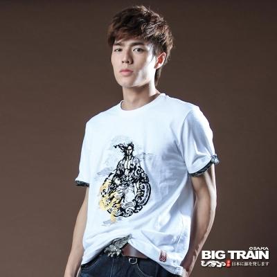 BIG TRAIN-祥龍武士圓領T-白