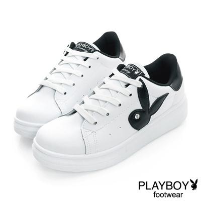 PLAYBOY-原味步調-簡約兔頭休閒板鞋-白黑-女