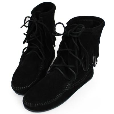 MINNETONKA 黑色麂皮單層流蘇 中筒靴 經典必備 (展示品)