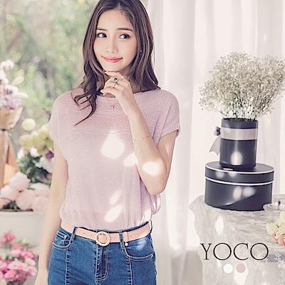 東京著衣-yoco 名媛印象修身短袖針織衫上衣-S.M.L(共二色)