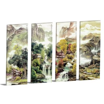 橙品油畫布 - 四聯無框圖畫藝術家飾品掛畫油畫掛飾-油情山水-30x80cm