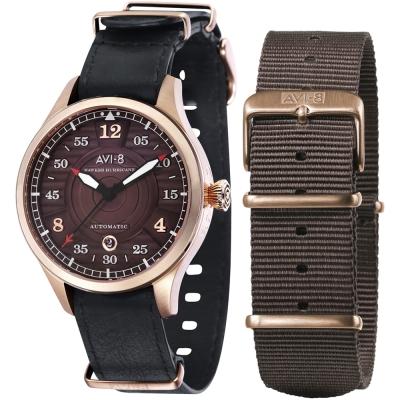 AVI-8 飛行錶 HAWKER HURRICANE 機械禮盒組-咖啡x黑/43mm