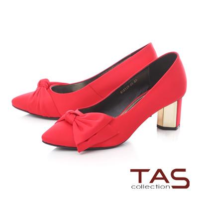 TAS素面蝴蝶結金屬高跟鞋-法式紅