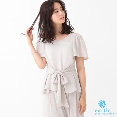 earth music 露肩腰綁帶上衣+鬆緊腰寬褲