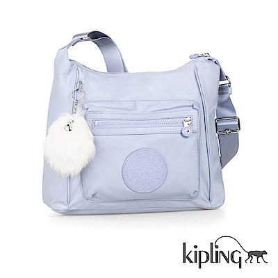 Kipling 斜背包 寧靜藍素面-中