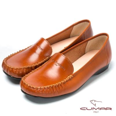 CUMAR台灣製造 舒適真皮平底鞋-棕色