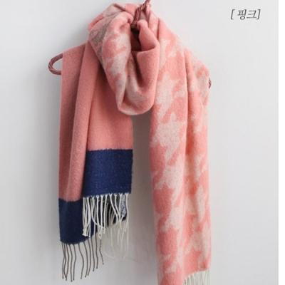 梨花HaNA-韓國東大門羊絨大千鳥格撞色時髦圍巾披肩-粉紅色