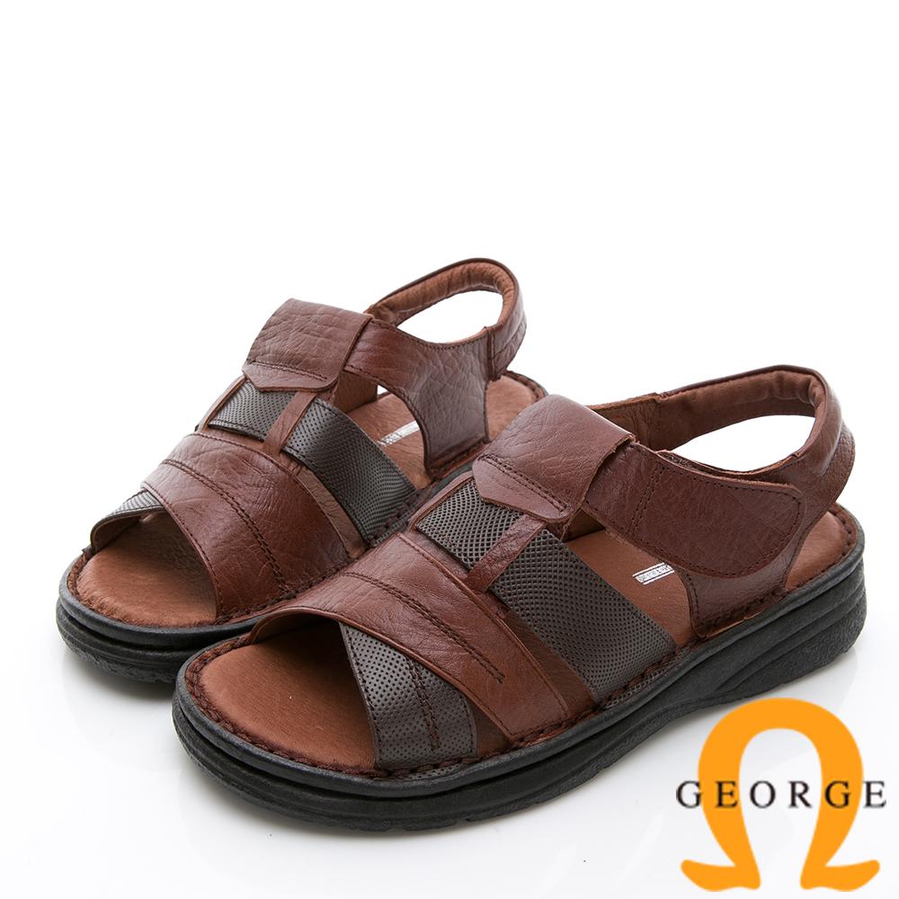 GEORGE 喬治-休憩系列 魔鬼氈雙色休閒涼鞋-咖