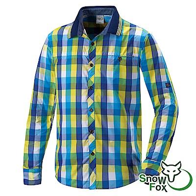 【SNOW FOX 雪狐】男款夏日防曬透氣快乾長短袖格子襯衫AS-81506黃藍格