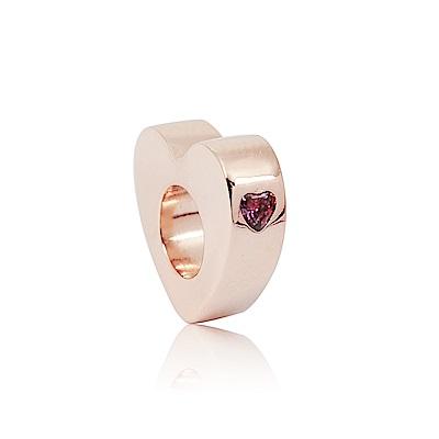 Pandora 潘朵拉 粉心鋯石夾釦式扁珠 玫瑰金 純銀墜飾 串珠