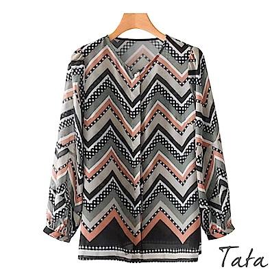 九分袖撞色單排釦印花上衣 TATA