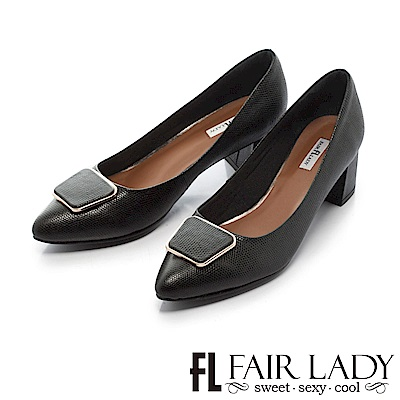 Fair Lady 優雅小姐Miss Elegant 方形裝飾尖頭粗跟鞋 典雅黑