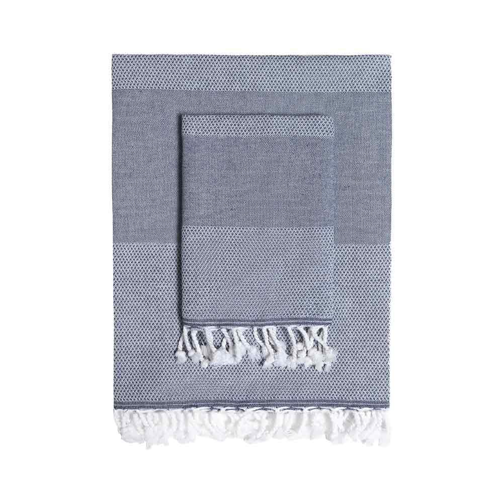 TAMA 天然純淨頂級土耳其手工平織薄巾/毛巾組(深藍午夜)