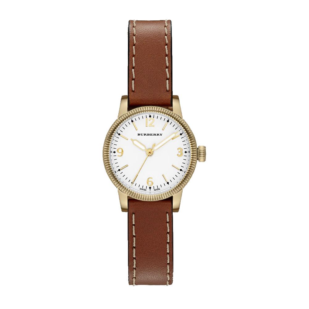 BURBERRY Utilitarian系列時尚腕錶-銀白x金框30mm