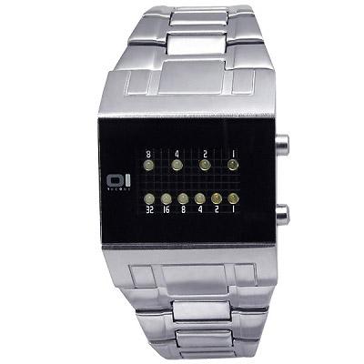 THE ONE 科技前衛‧二進制代碼LED屏鋼帶腕錶-黑面/中/31mm