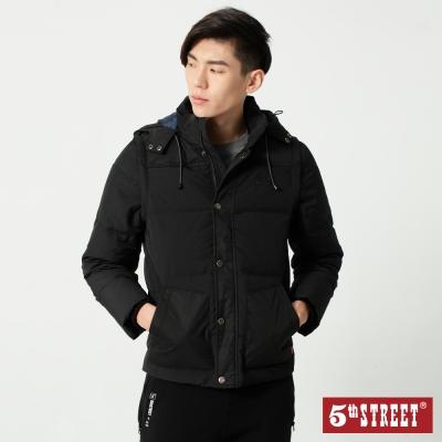 5th STREET 袖可拆2用連帽羽絨外套-男-黑色