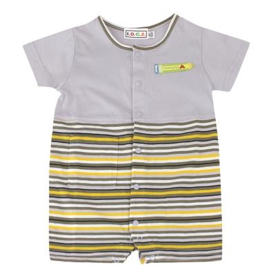 愛的世界 MYBEAR 夏令營純棉條紋拼色衣連褲-灰/6個月~2歲