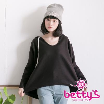 betty's貝蒂思 慵懶外刷毛連帽上衣(黑色)