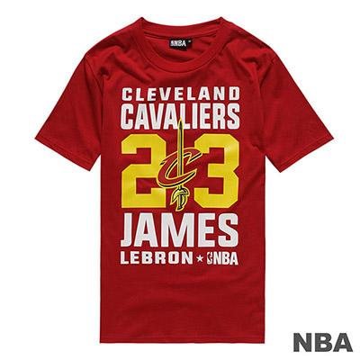 NBA LeBron James騎士隊經典背號滿版印花短T-深紅 (男)