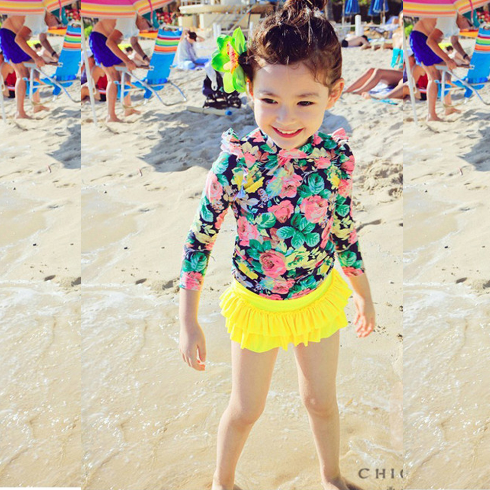 Biki比基尼妮泳衣   花花長袖兒童泳衣小朋友游泳衣兒童泳裝(黃色)