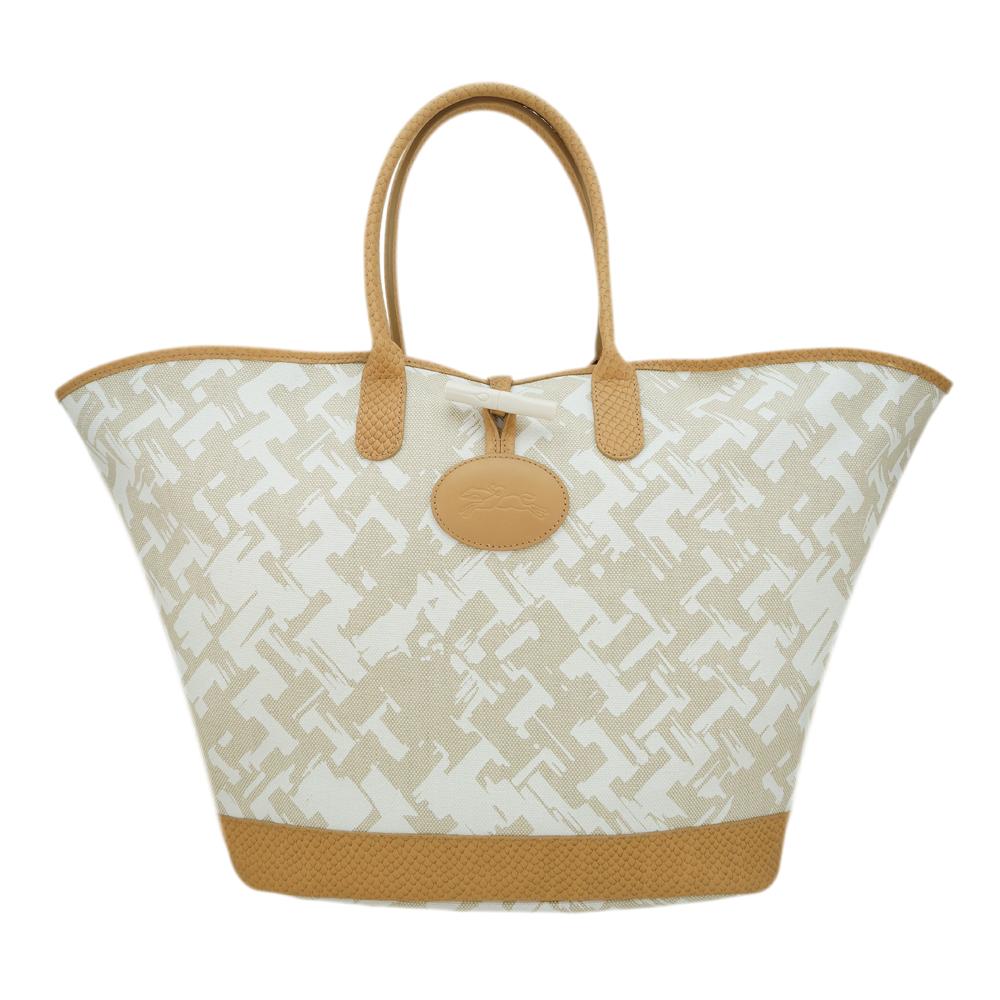 Longchamp 異國風情編織效果設計手提包(淡褐/大)
