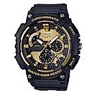 CASIO 逆跳的扇形計時獨立顯示日期運動錶(MCW-200H-9)金色面53.5mm