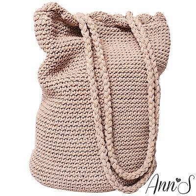 Ann'S森林女孩-手工編織滾花邊肩背水桶包-卡其
