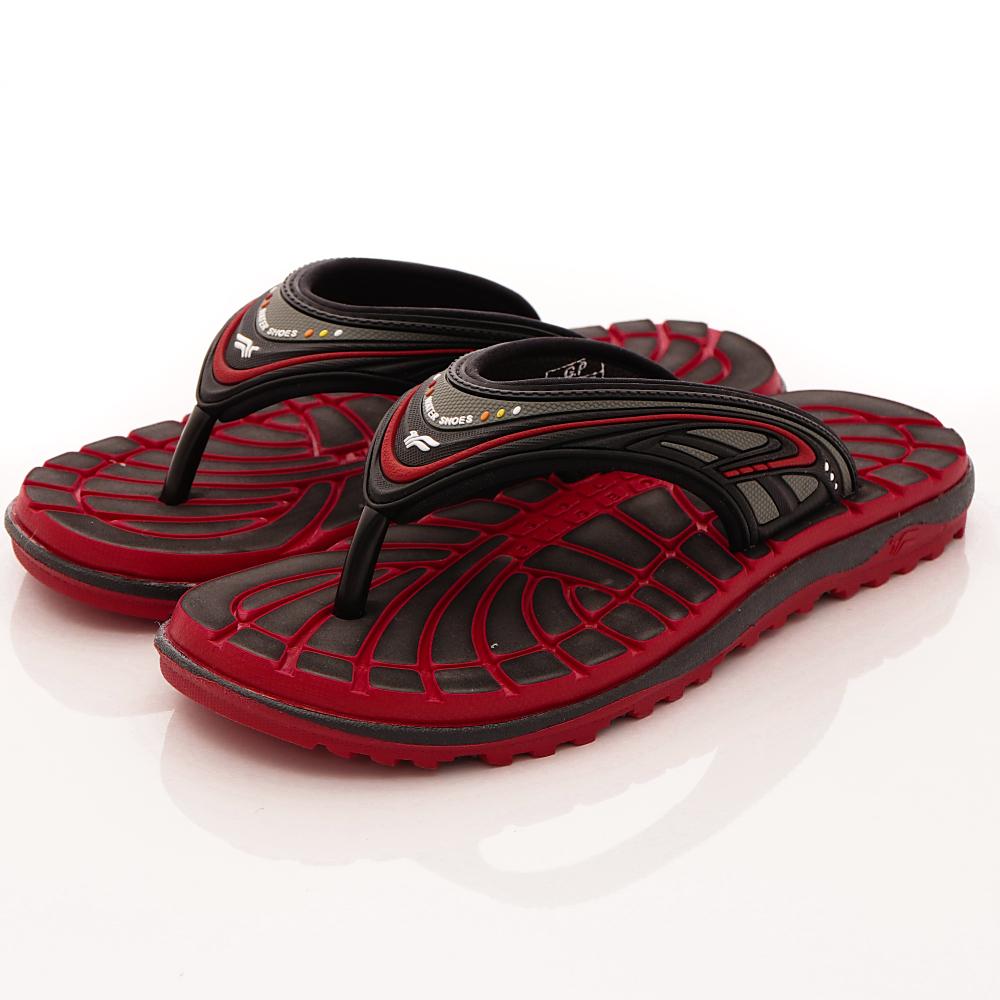 GP時尚涼拖-夾腳排水拖鞋款-SE591-14黑紅(男段)