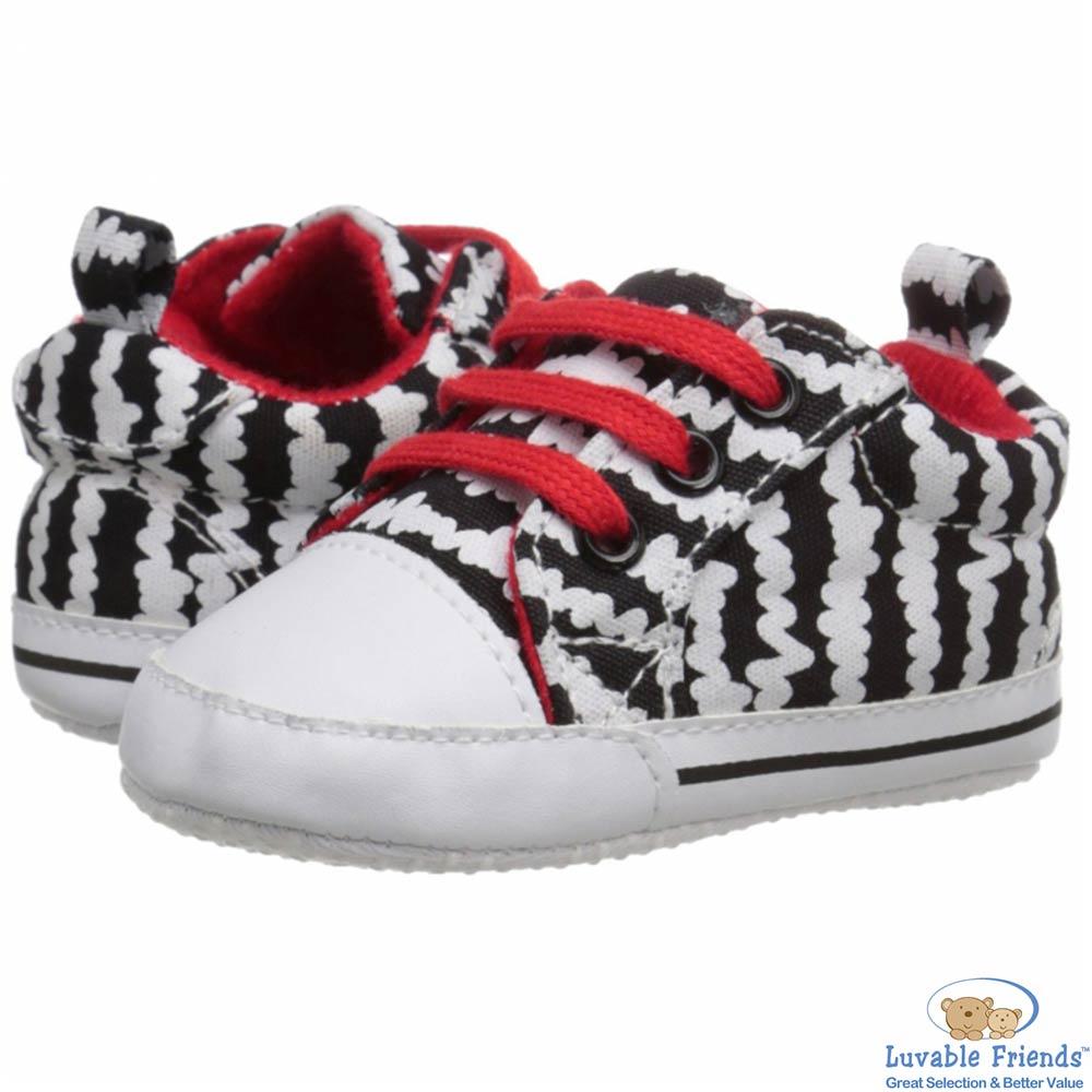 Luvable Friends 黑白波紋嬰兒小布鞋