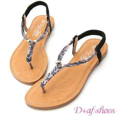D+AF 繽紛夏日.麻辮花布平底夾腳涼鞋*黑