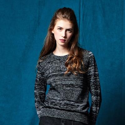 CACO-提花緞彩毛衣.情侶款 任選2件