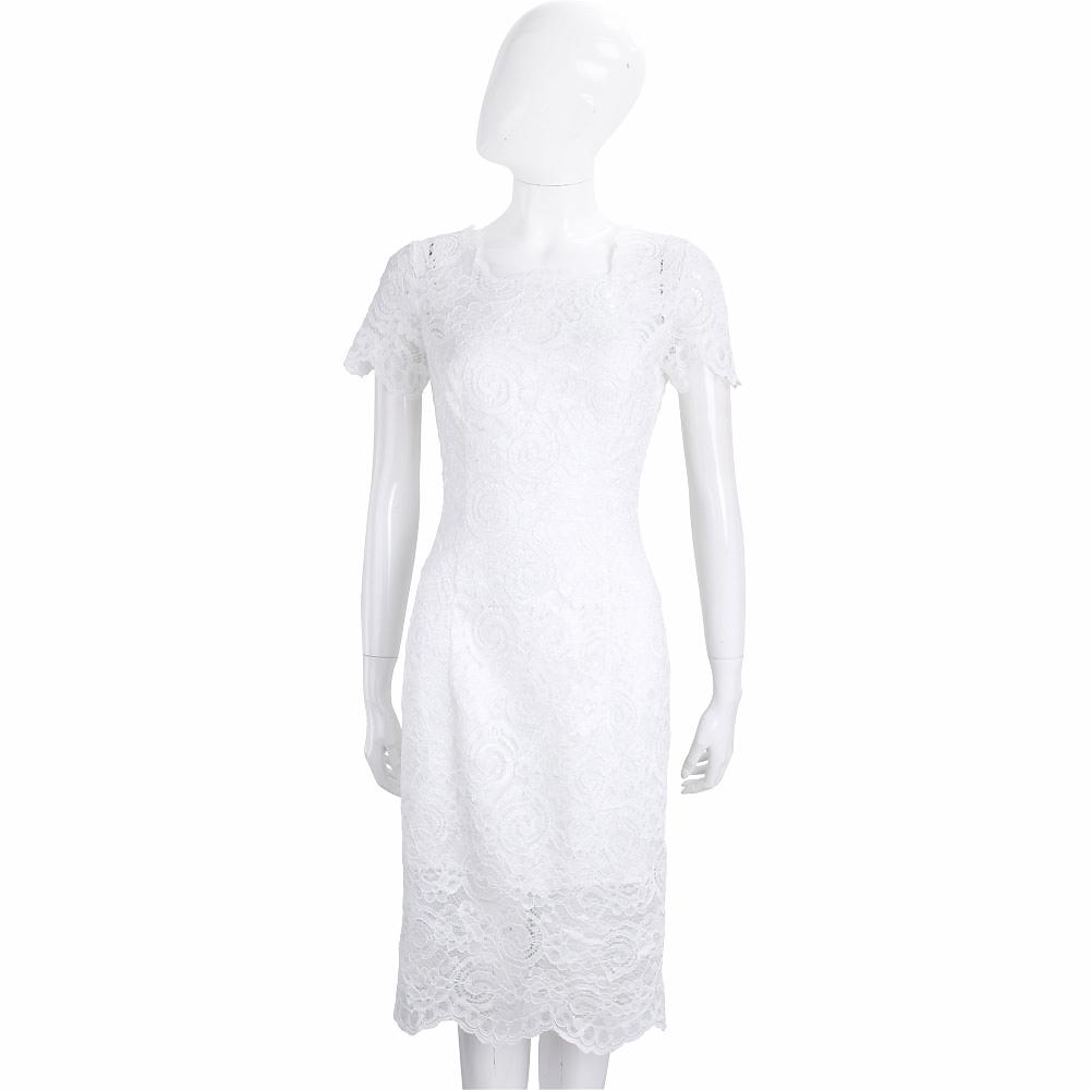 ROCCO RAGNI 白色蕾絲短袖洋裝