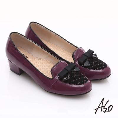 A.S.O 3E舒活寬楦 真皮拼接菱格紋蝴蝶結飾低跟鞋 酒紅