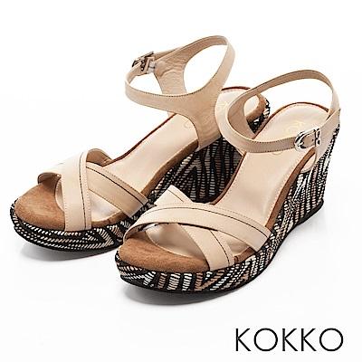 KOKKO -  迷情島嶼交叉線條印花楔型涼鞋-簡約米