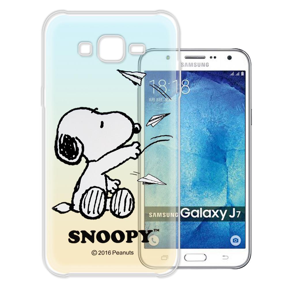 史努比 / SNOOPY Samsung Galaxy J7 漸層彩繪軟式手機殼(紙飛機)