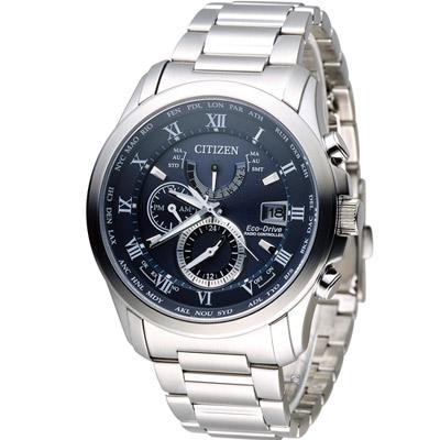 CITIZEN 星辰 沈穩霸氣五局電波限定錶(AT9080-57L)-藍/43mm