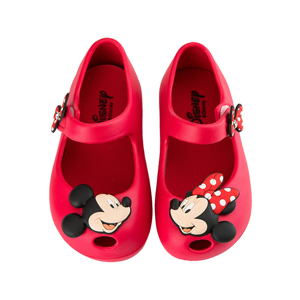 迪士尼童鞋 米奇米妮 立體防水娃娃鞋-紅