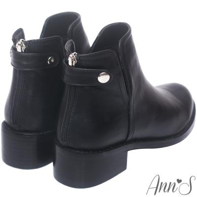 Ann'S街拍極致雙V後扣帶厚底短靴-黑