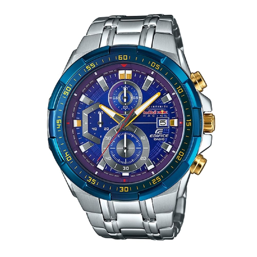 EDIFICE 王者風範霸氣極速賽車聯名錶-靚藍色框(EFR-550RB-2A)-49.2mm